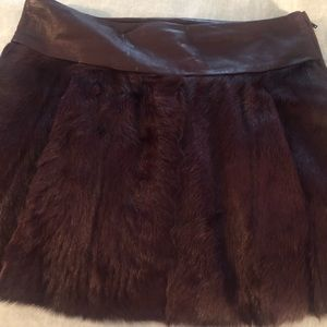 Theory genuine fur/leather mini skirt size 0
